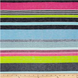 Fine Gauge Slub Hatchi Knit Stripe Navy/Lime/Fuschia