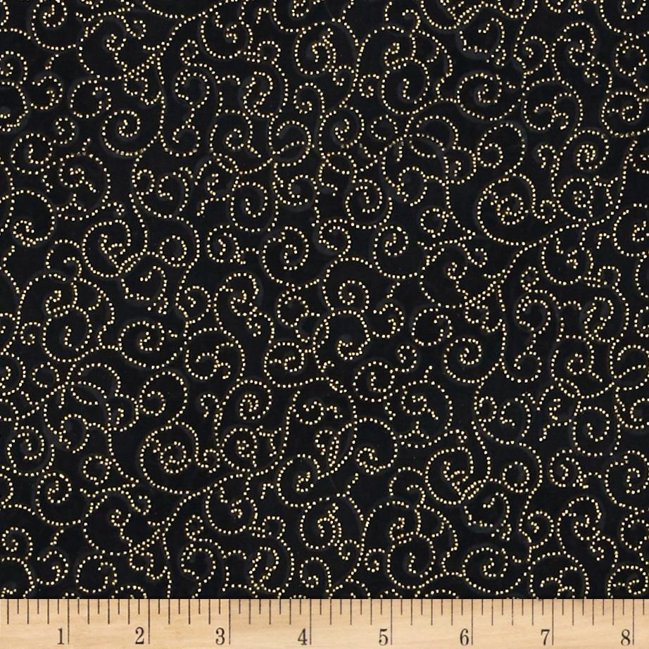 Berries and Blooms Metallic Scroll Black/Gold