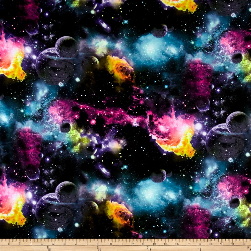 Poly spandex galaxy knit print multi discount designer for Space themed fabric