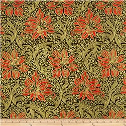 Metallic Brocade Floral Red