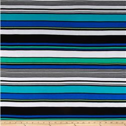 Stretch Rayon Jersey Knit Stripes Black/Blue/Green Fabric