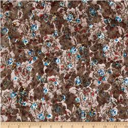 Printed Floral Lace Brown Multi