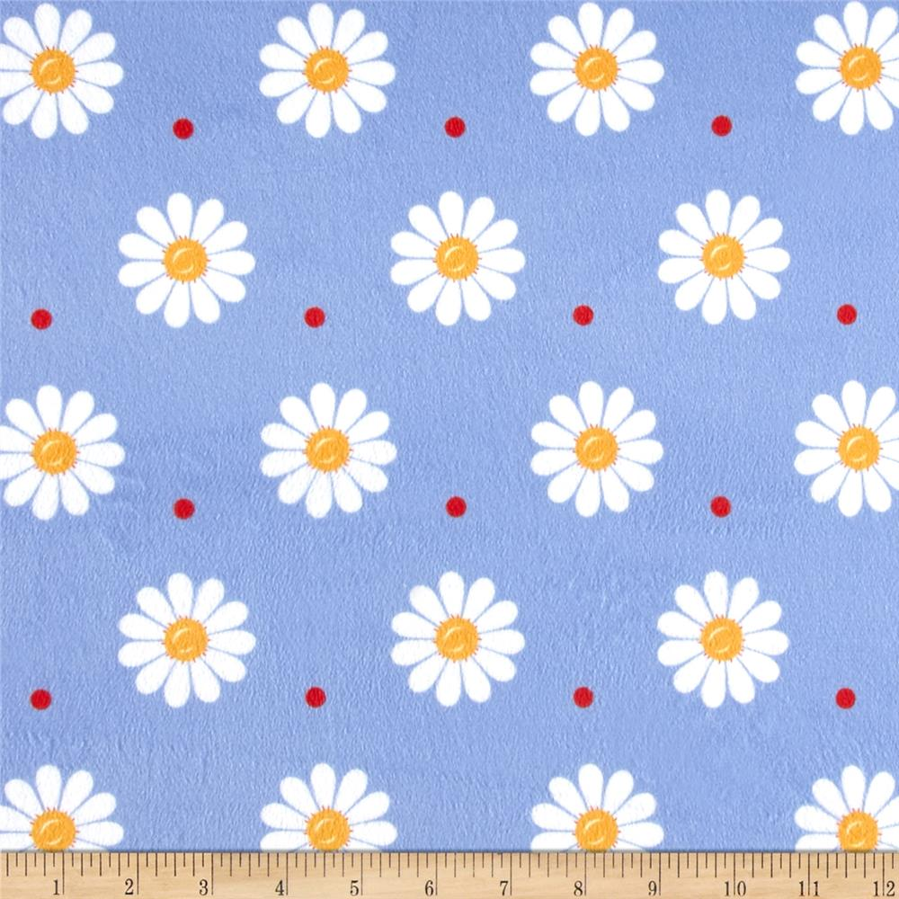 Minky Sunshine Daisies Blue/White