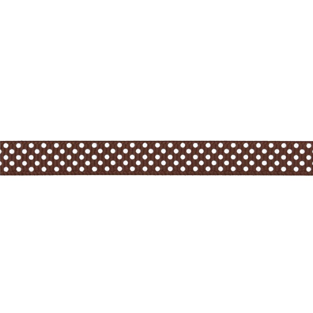 "Riley Blake 3/8"" Grosgrain Ribbon White Dots Brown"