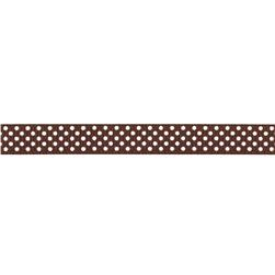 Riley Blake 3/8'' Grosgrain Ribbon White Dots Brown
