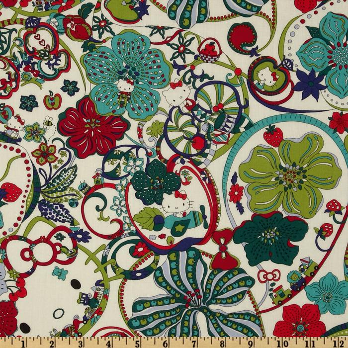 Liberty of London Tana Lawn Hello Kitty Kitty's Wonderland Green/Teal