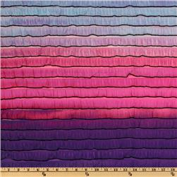 Stretch Rainbow Ruffle Knit Purple/Pink Fabric
