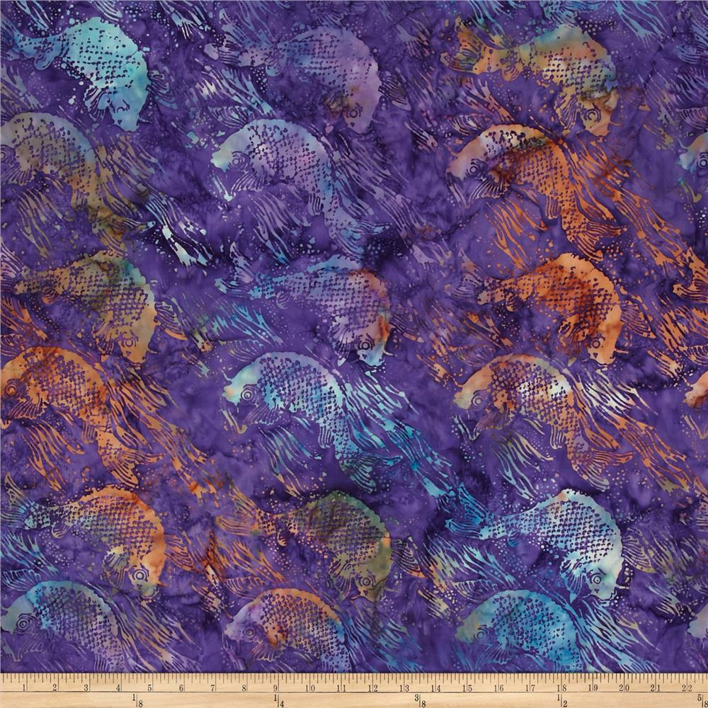 Island Batik Purple Rain Purple/Teal Fish