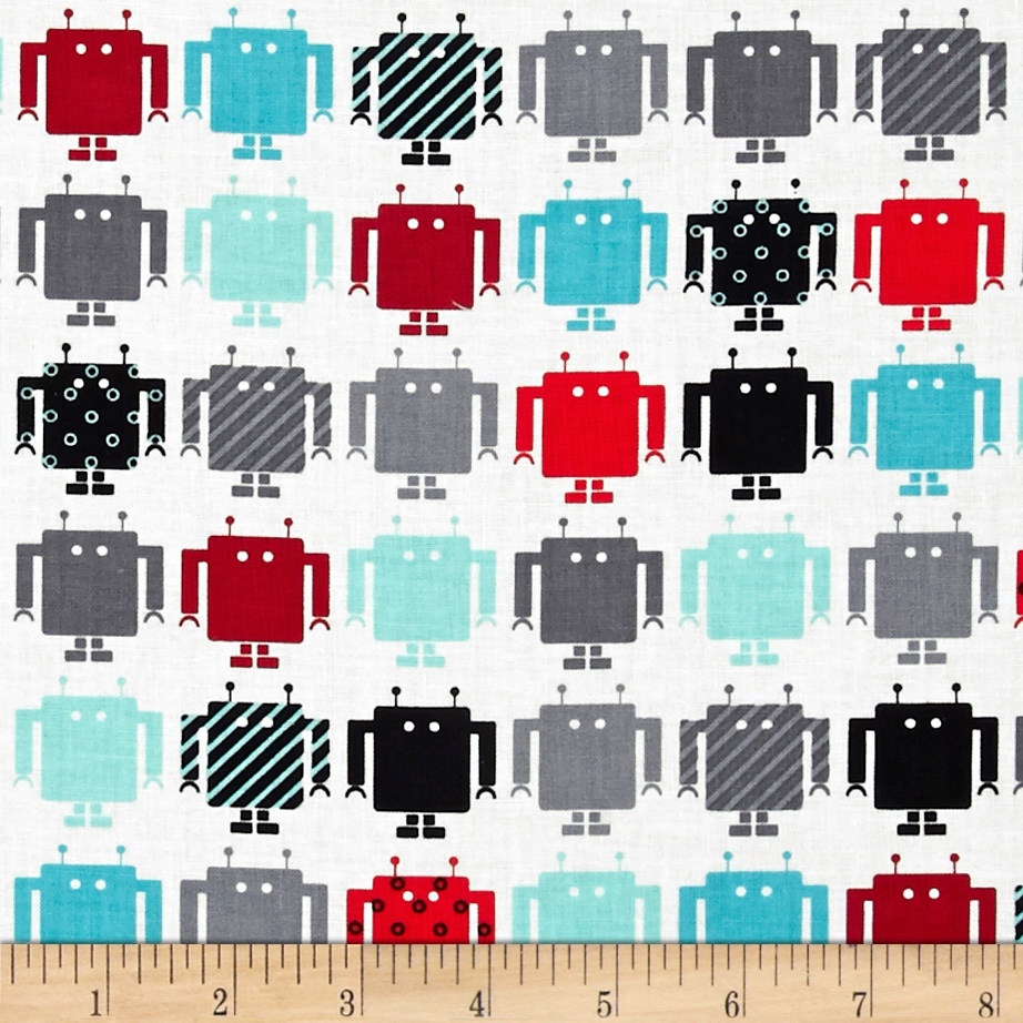 Funbots Small Robots Celebration White Fabric