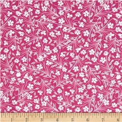 Jenean Morrison Lovelorn Feathered Flowers Pink Fabric