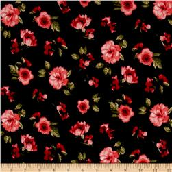 Liverpool Double Knit Mini Floral Navy/Coral/Green