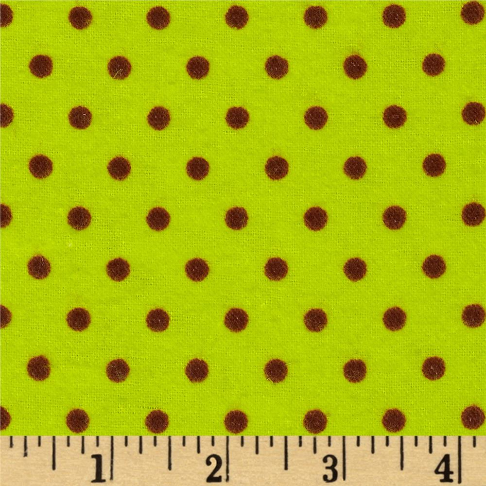 Aunt Polly's Flannel Small Polka Dots Neon Green/Brown