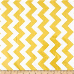 Riley Blake Laminated Cotton Medium Chevron Yellow