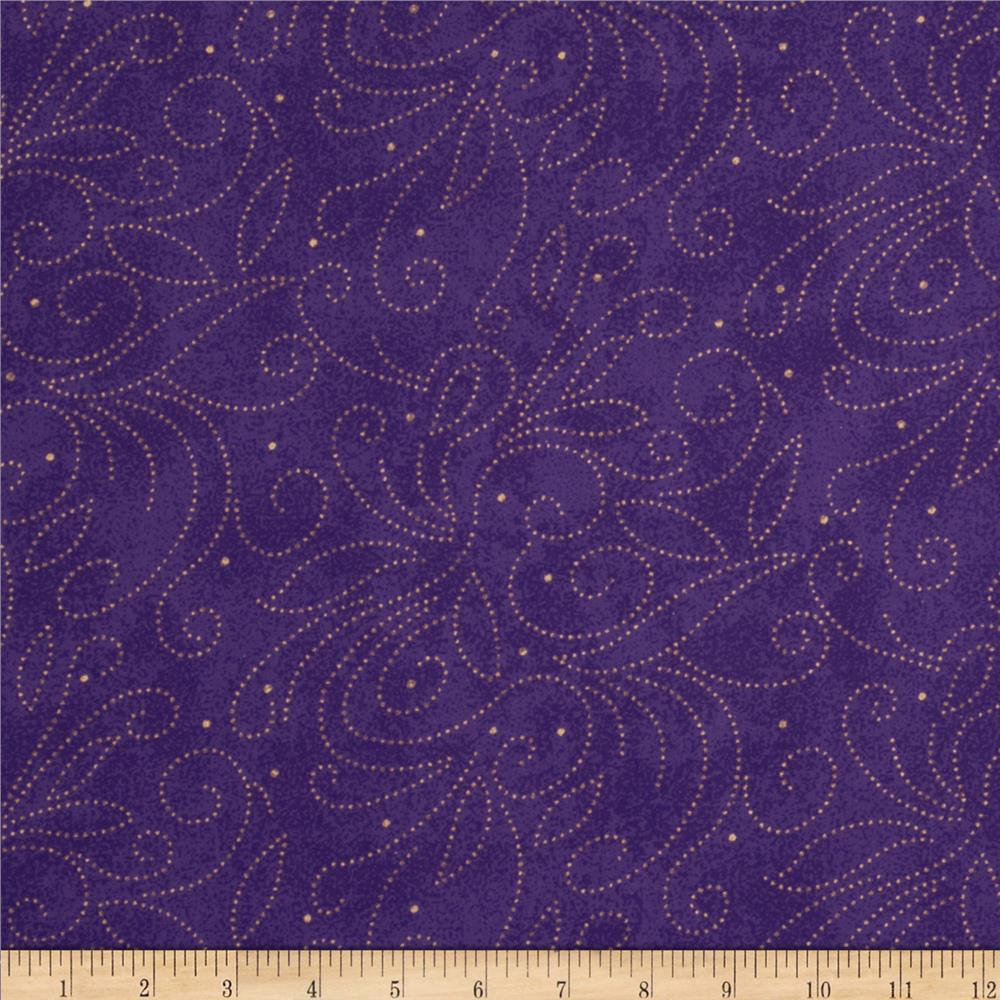 110 wide quilt backing scroll purple discount designer for Quilting material