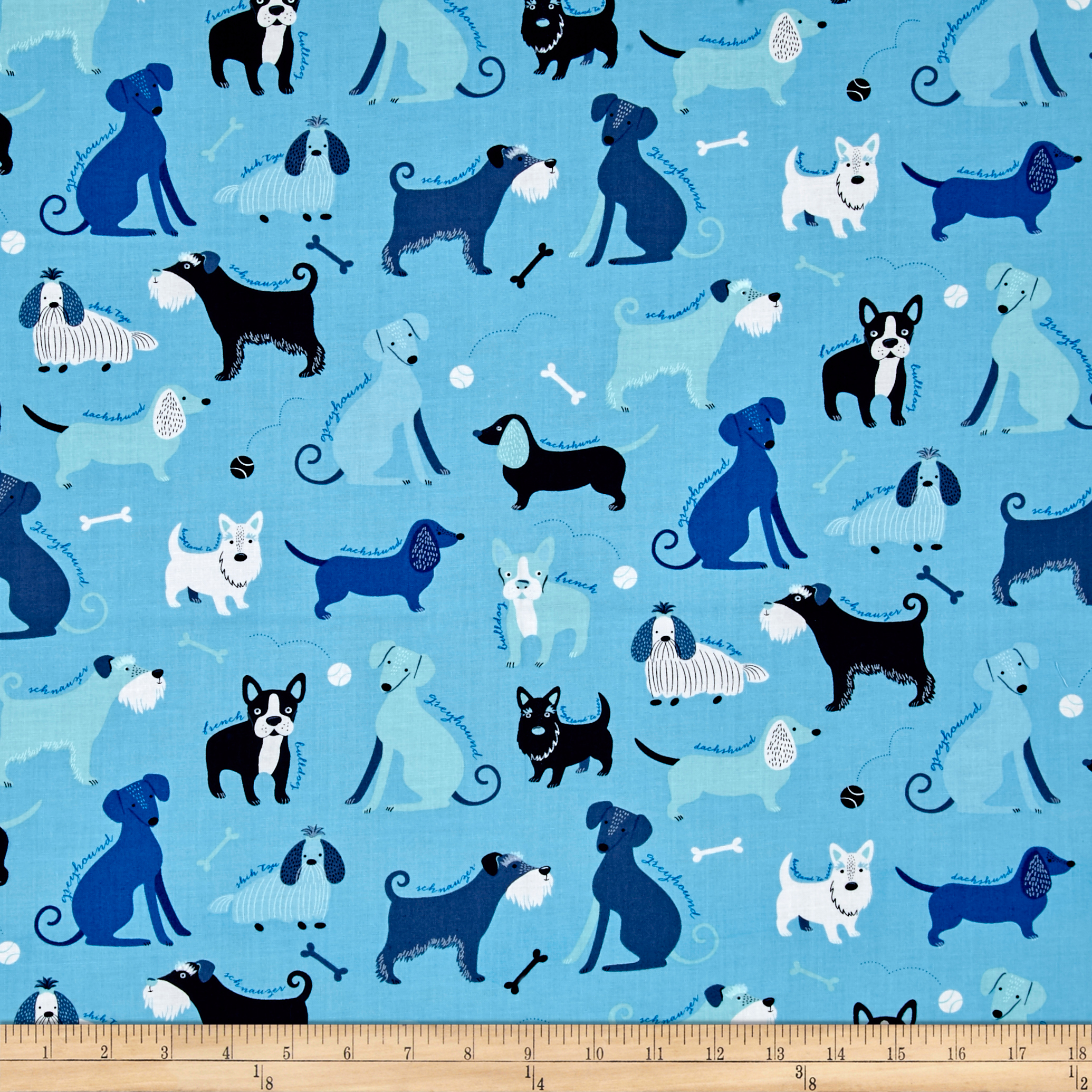 Kaufman Classy Canines Dogs and Bones Blue Fabric