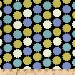 Modern Age Bottle Cap Dot Black/Blue Green Fabric