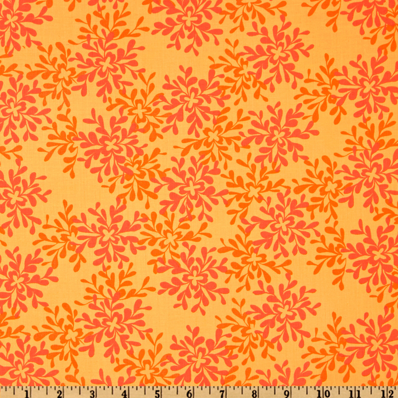 Valori Wells Nest Leaves Tangerine Fabric