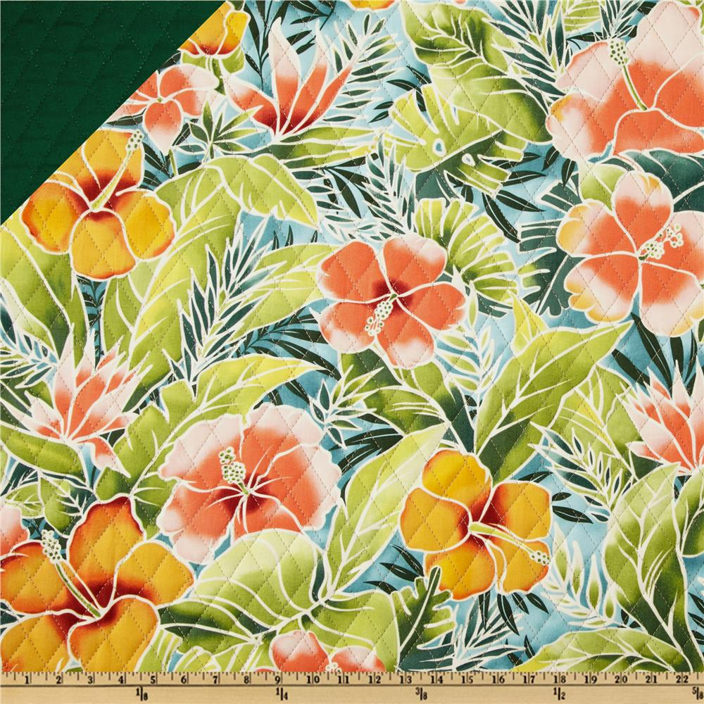 Double Sided Quilted Tropical Floral Peach/Green