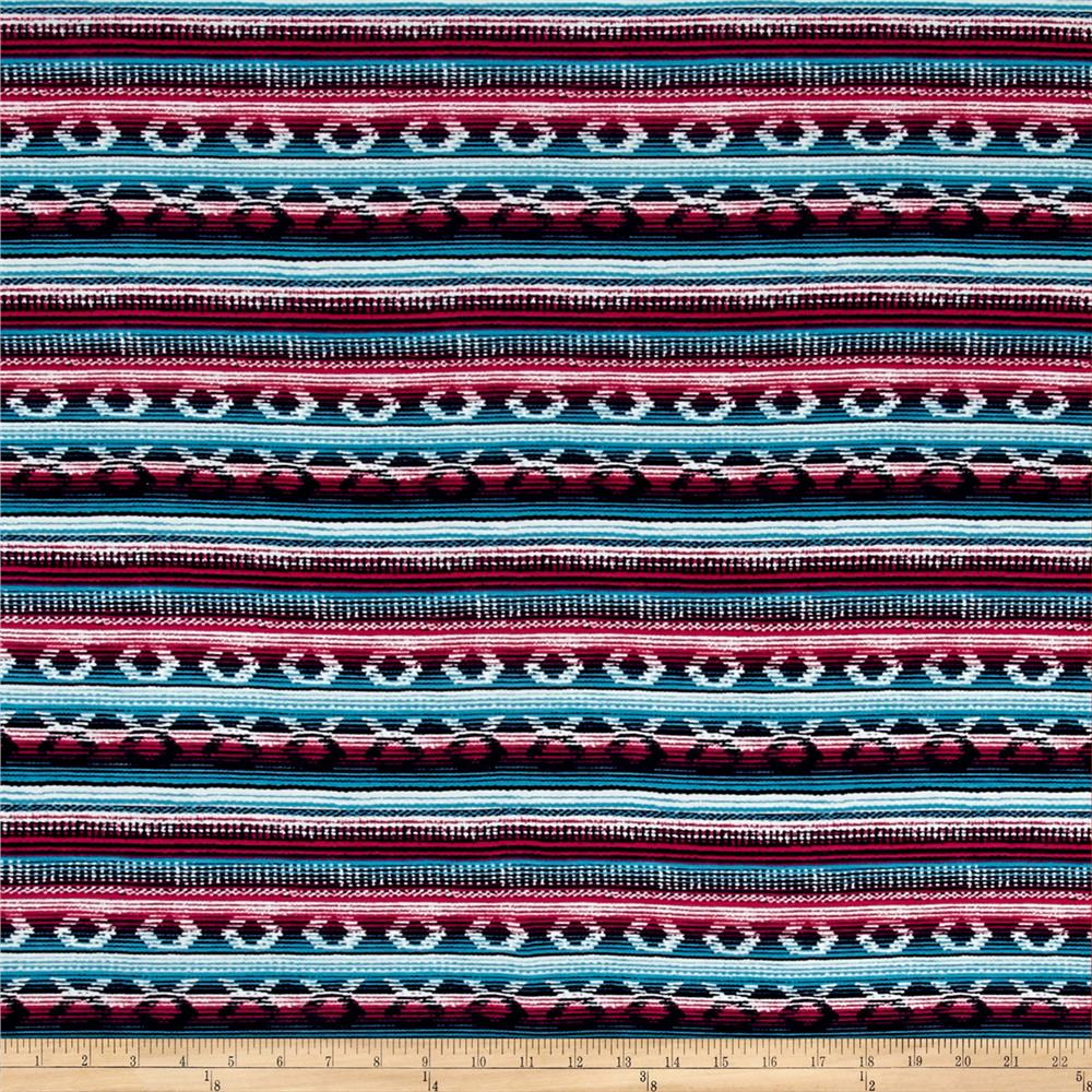 Mayan Circle & Stripe Jersey Knit Print Navy/Fuschia Fabric By The Yard