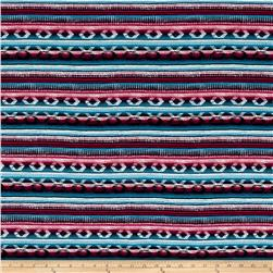 Mayan Circle & Stripe Jersey Knit Print Navy/Fuschia