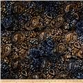 "Timeless Treasures 106"" Batik Ethnic Paisley Carbon"