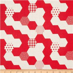 Michael Miller Textured Basics Hexies Red