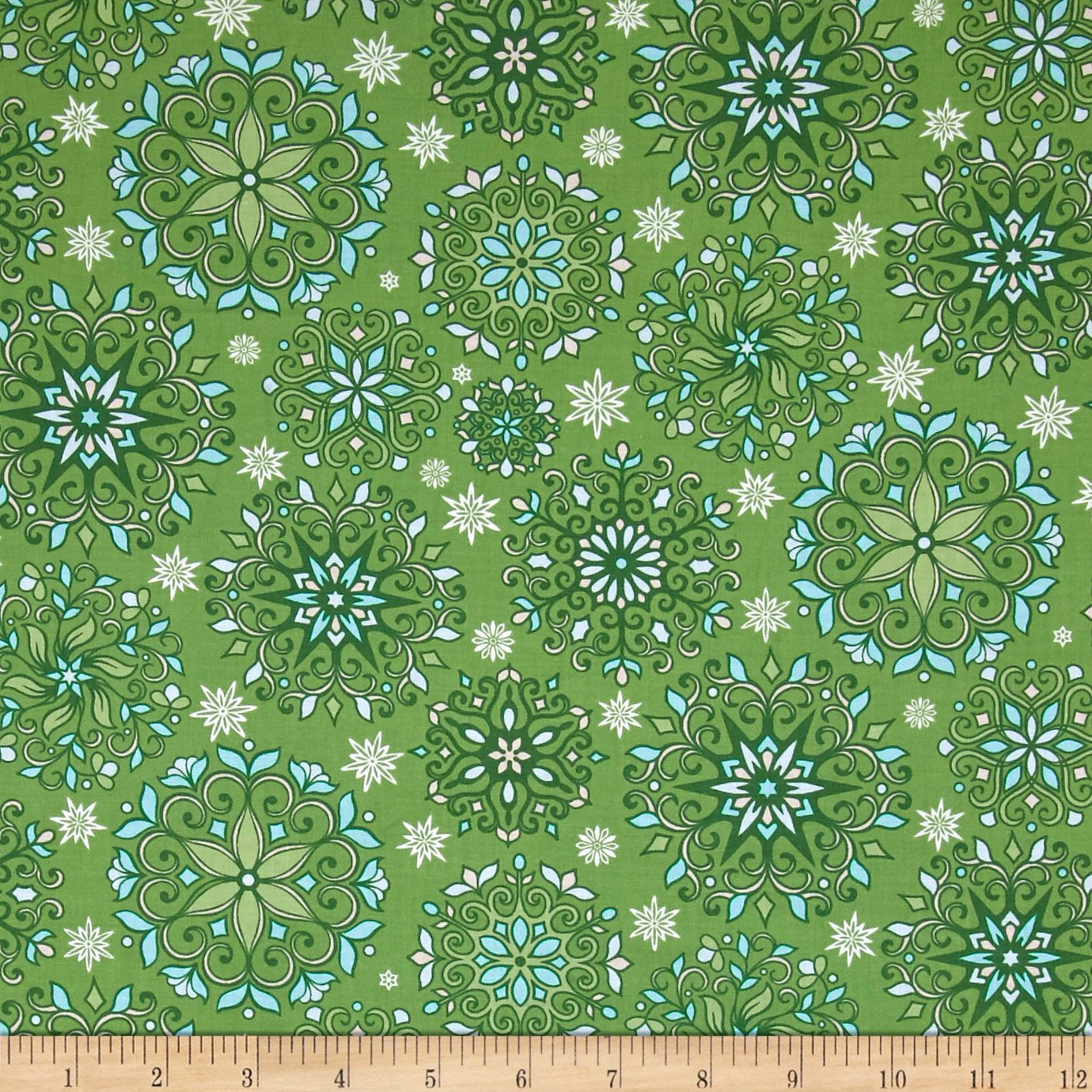 INOpets.com Anything for Pets Parents & Their Pets Contempo Winter Games Snowflakes Green Fabric