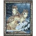 Wild Wings Contemplation Wolves Wall Panel Brown