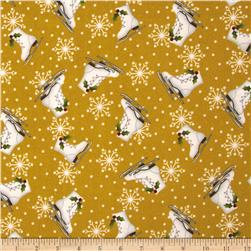 Crazy for Christmas Flannel Ice Skates Yellow