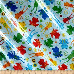 Kaufman Jump into Fun Slicker Laminated Cotton  Frog Blue