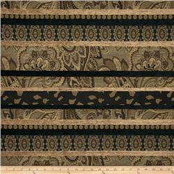 Home Decor Floral Stripe Upholstery Jacquard Black