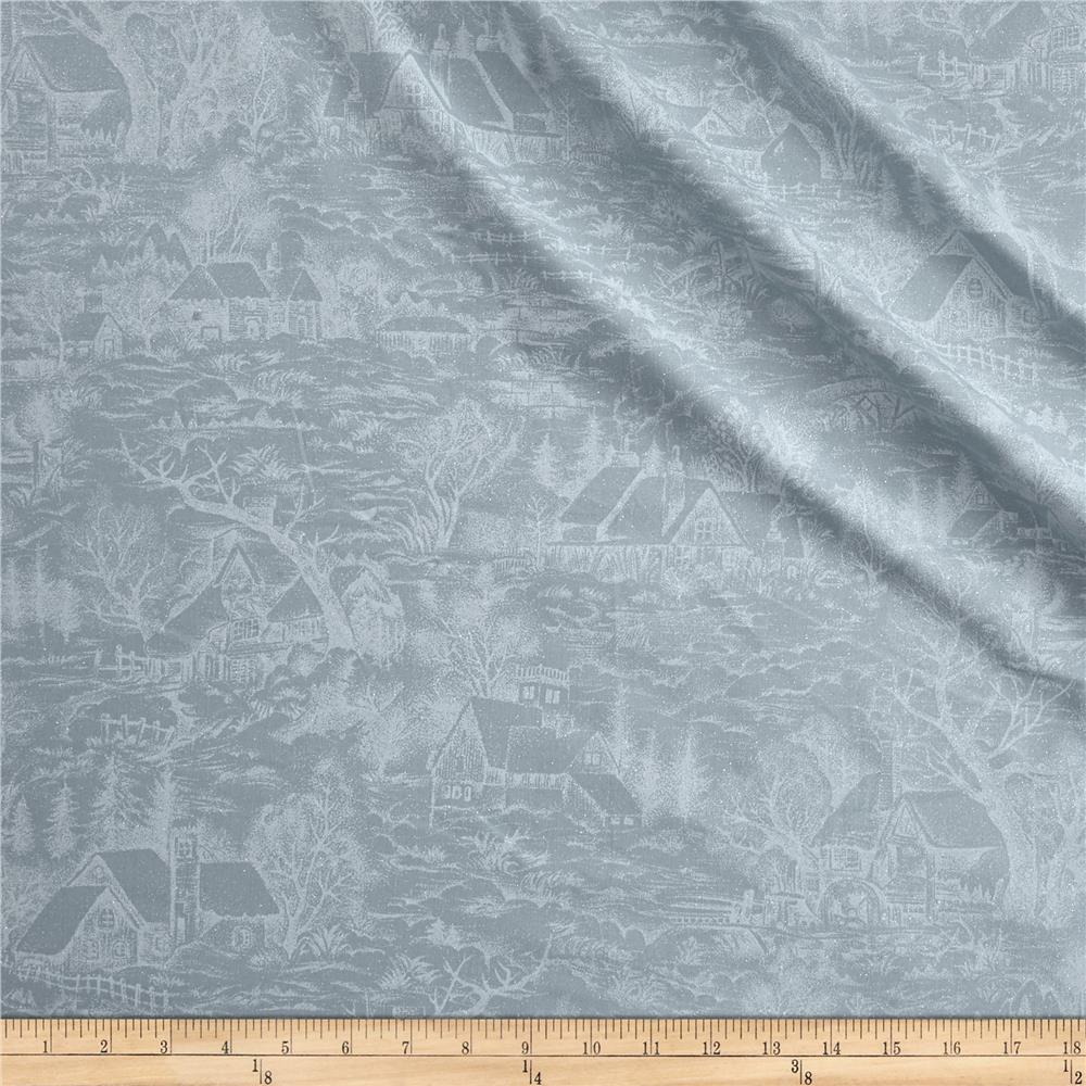 Moda Forest Frost Glitter Metallic Snowy Village Icicle