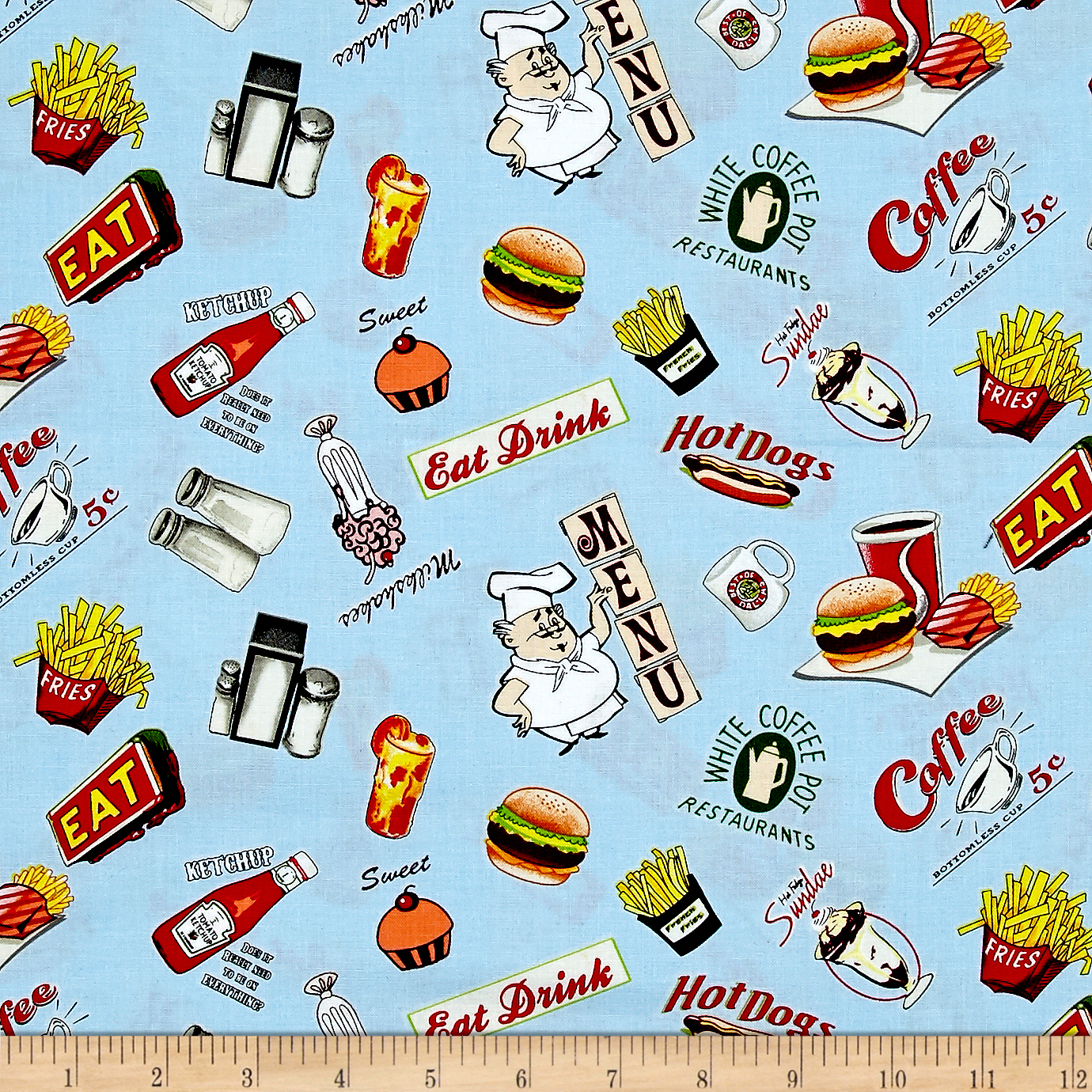 Open 24 Hours Food Allover Blue Fabric by Exclusively Quilters in USA