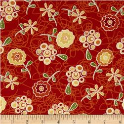 Marmalade Cottage Floral All Over Dark Orange