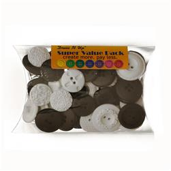 Dress It Up Super Value Pack Buttons Dominoes Black/White