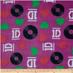 One Direction Fleece Hearts Vinyls Purple