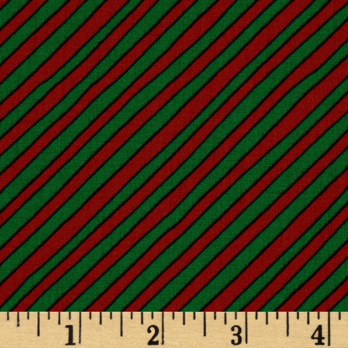 Goodnight Moon Diagonal Stripe Green/Orange Fabric
