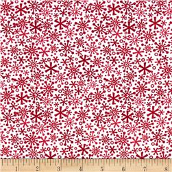 Riley Blake Cotton Jersey Knit Holiday Flakes Red