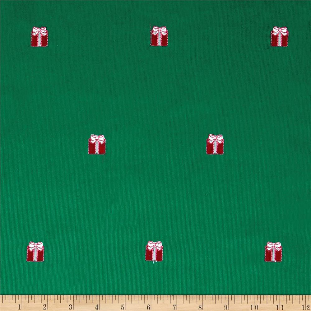 Embroidered 21 Wale Corduroy Present Green/Red