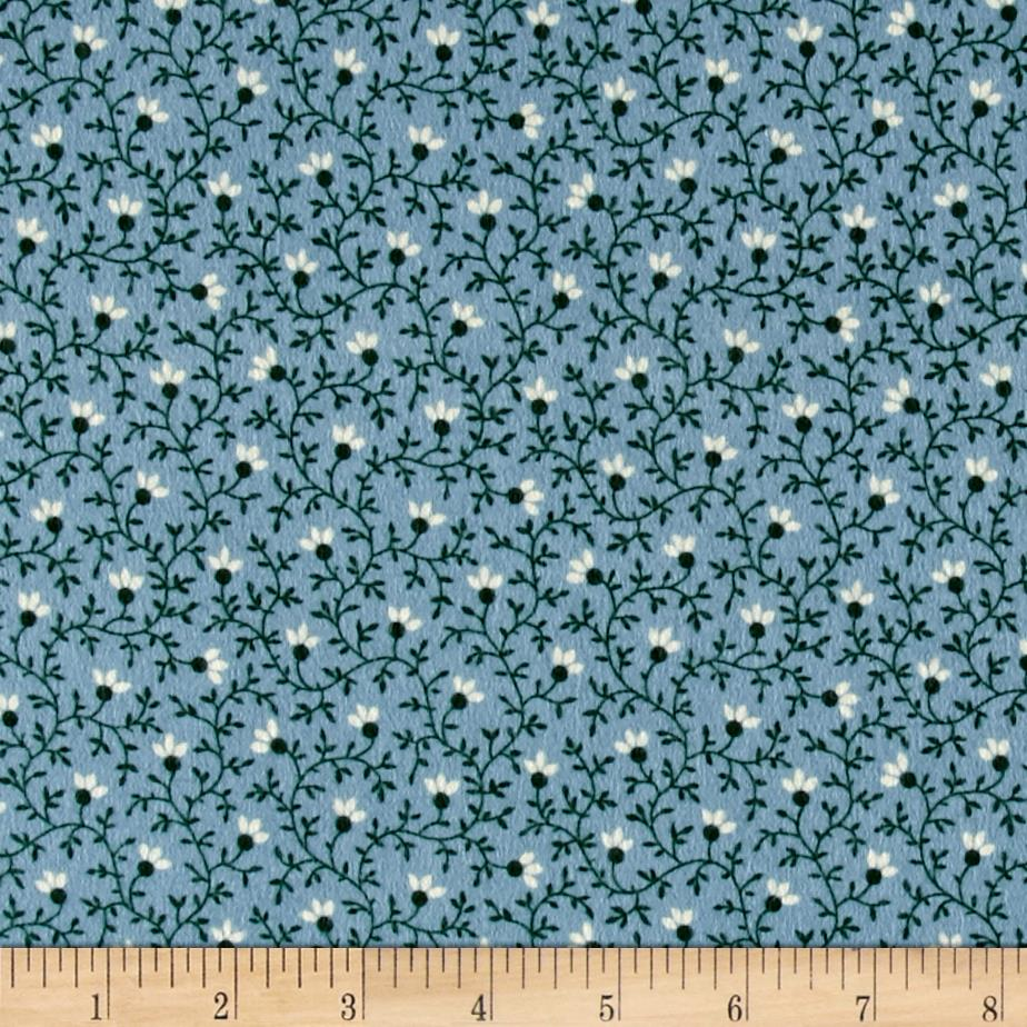 Cozies Flannel Flower Vine Blue Fabric By The Yard