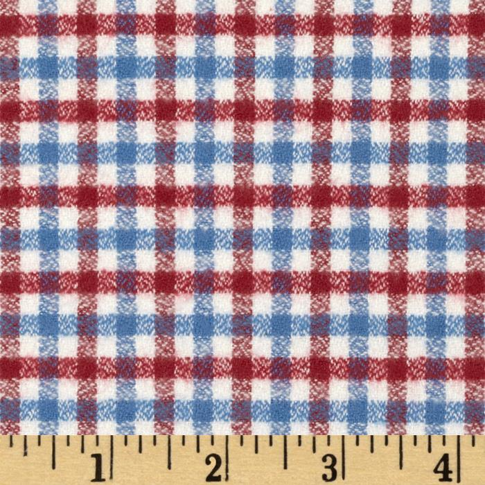 Kaufman Mammoth Flannel Plaid Small Americana Fabric By The Yard