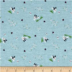 Cotton Lycra Jersey Knit Dogs Play Baby Blue