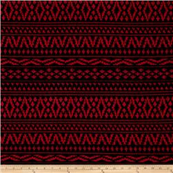 Double Knit Aztec Abstract Stripe Red
