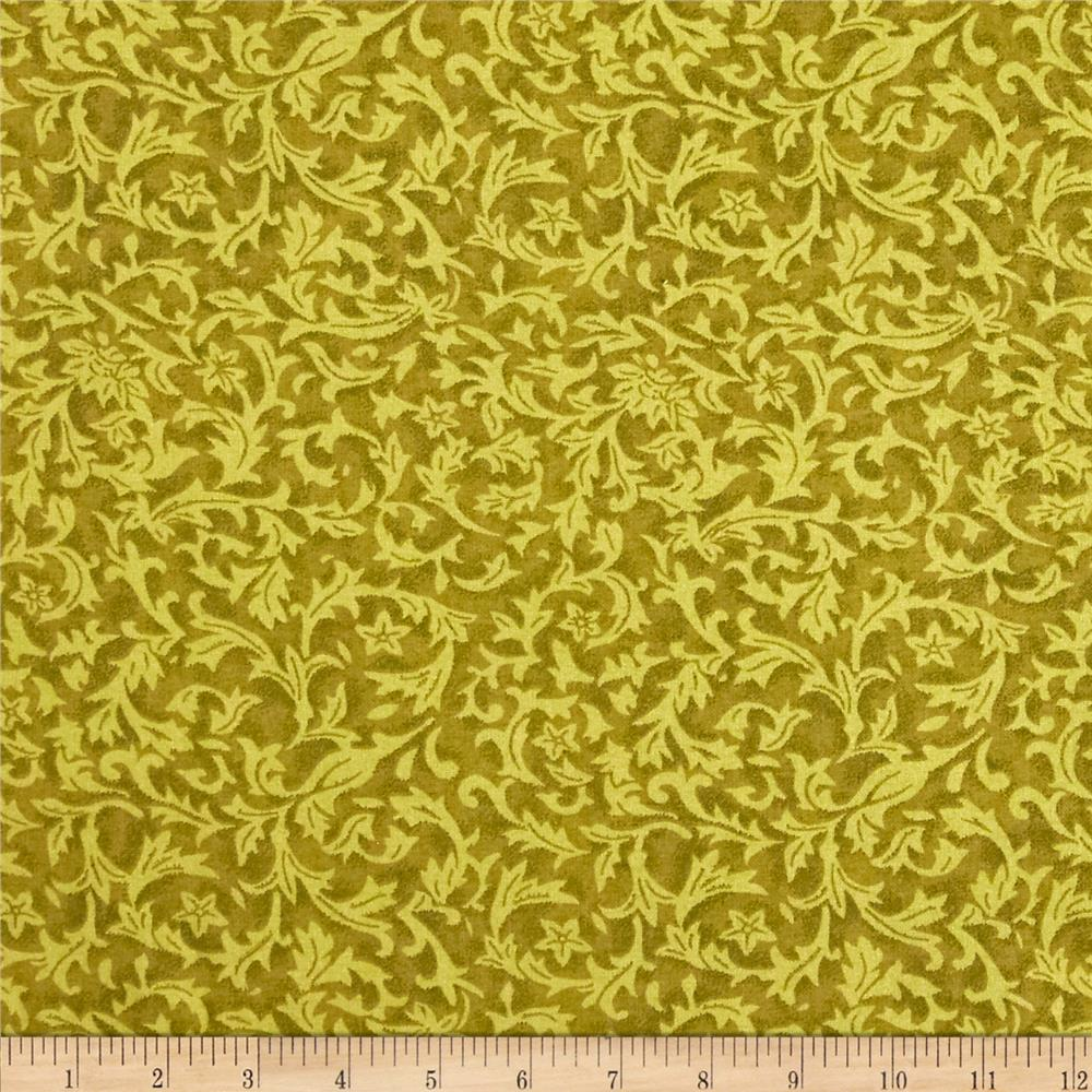 "110"" Wide Quilt Back Flannel Leaf Olive"