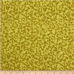 110'' Wide Quilt Back Flannel Leaf Olive Fabric