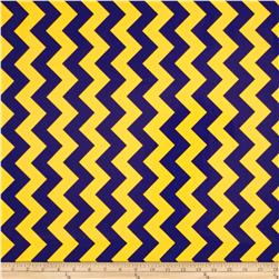 Riley Blake Laminated Cotton Medium Chevron Blue/Gold