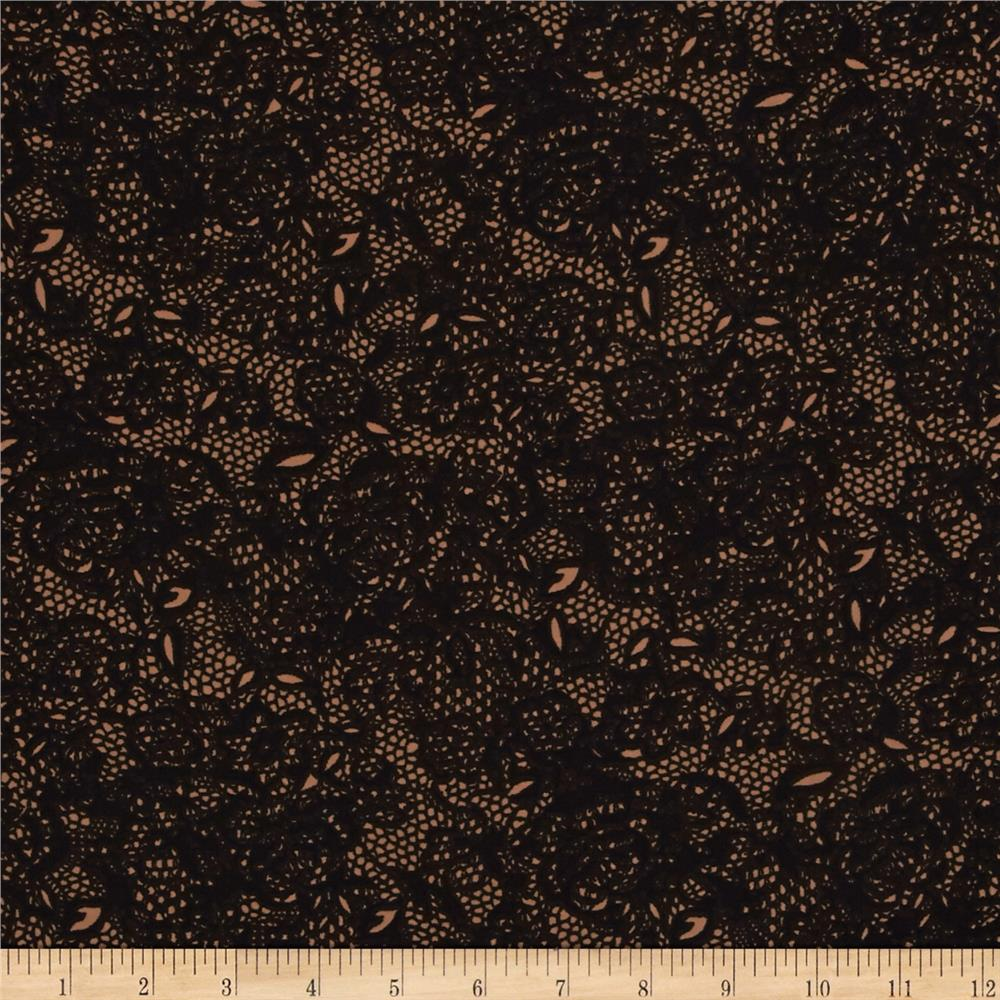 Designer Sateen Lace Print Tan/Black
