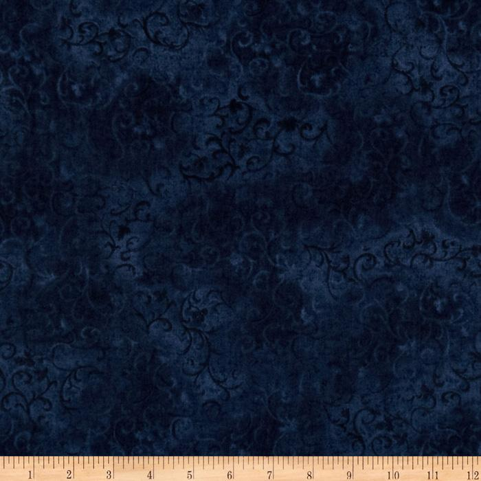 "108"" Essential Scroll Quilt Backing Indigo"