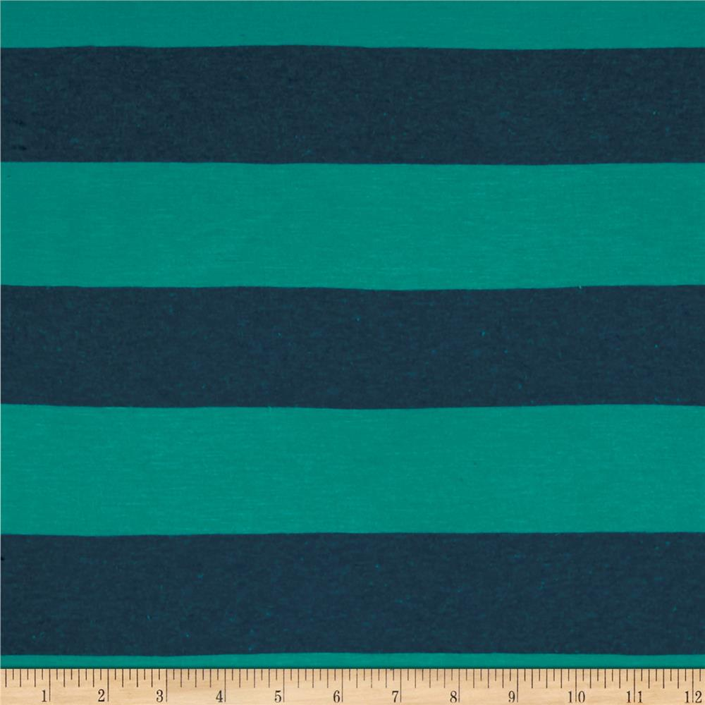 Stretch Jersey Knit Tourqoise/Blue Stripe
