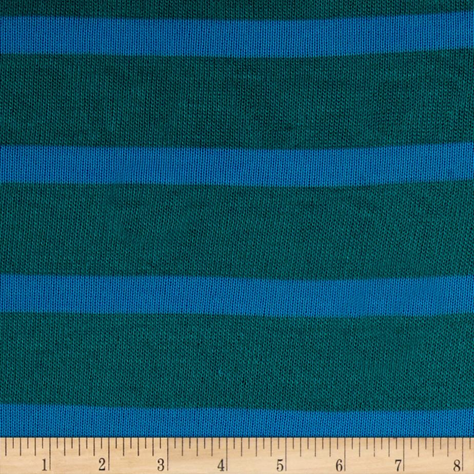 Sweater Knit Large Green Stripe / Teal